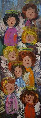 Crowd Of Angels Art Print by Kathy  Cuiffi