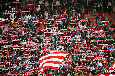Crowd Of Fans Raise Scarves In Support Of Red Star, One Of Sebia's Premier Soccer Teams Art Print by Greg Elms