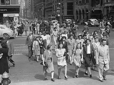 Crowd On 42nd St And 5th Avenue, Nyc Circa 1940s Art Print by George Marks