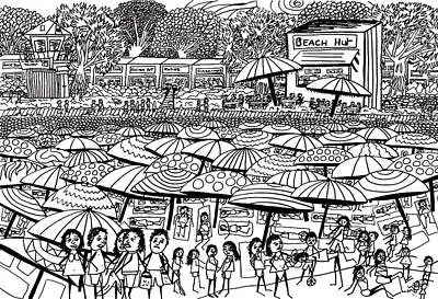 Beach Landscape Drawing - Crowded Beach Black And White by Karen Elzinga