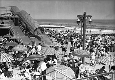 Crowded Beach, (b&w), Elevated View Art Print by George Marks