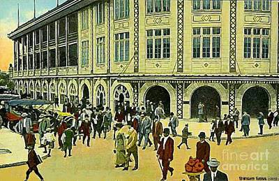 Painting - Crowds Outside Forbes Field Entrance In Pittsburgh Pa In 1910 by Dwight Goss