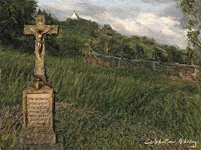 Old Country Roads Digital Art - Crucifix By The Roadside by Nikolay Vakatov