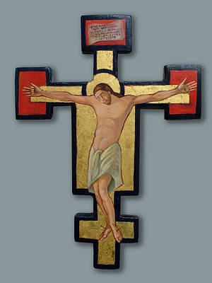 Egg Tempera Painting - Crucifix by Filip Mihail