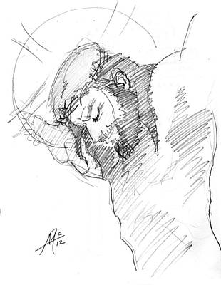 Miguel Art Drawing - Crucifixion 3 by Miguel De Angel