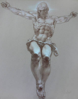 Oil Portrait Drawing - Crucifixion by Valeriy Mavlo