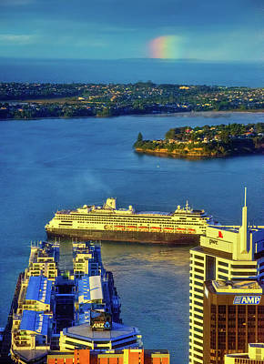 Photograph - Cruise Ship With Rainbow At Sunset by Harry Strharsky