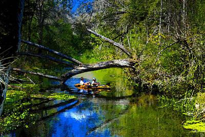 Kayaking Art Painting - Cruising Down The Ichetucknee by David Lee Thompson