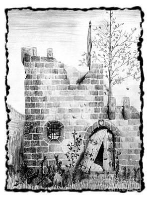Drawing - Crumbling Castle by Kristen Fox