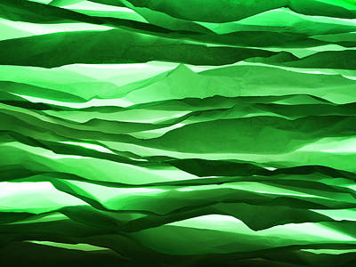 Large Group Of Objects Photograph - Crumpled Sheets Of Green Paper. by Ballyscanlon