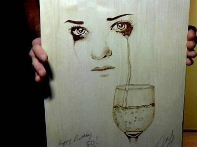 David Gray Pyrography - Crying Lady by David Gray