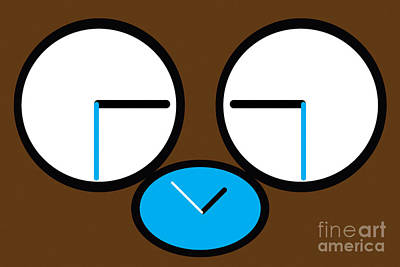 Digital Art - Crying Monkey In Clock Faces by Alycia Christine