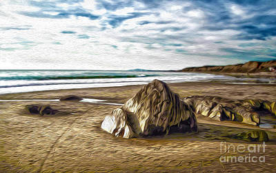 Art Print featuring the painting Crystal Cove Sea Shore by Gregory Dyer