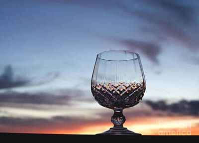 Crystal Glass Against Sunset Art Print