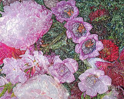 Crystallized Flowers - Digital Abstract Art Art Print by Merton Allen