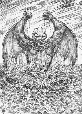 Drawing - Cthulhu Rising by Dan Moran