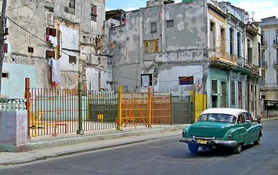 Art Print featuring the photograph Cuba Vintage American Car  by Lynn Bolt