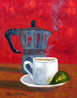 Cuban Coffee And Lime Red 62012 Art Print by Maria Soto Robbins