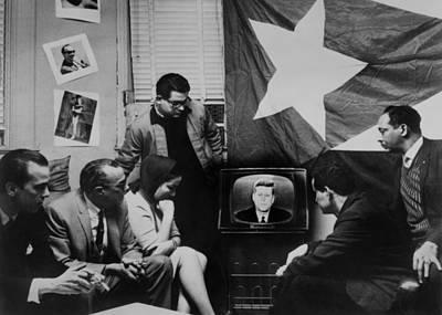 Cuban Refugees Gather Watch President Art Print by Everett