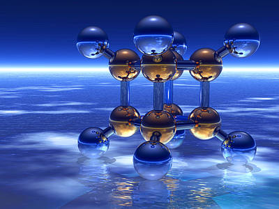 Cubane Molecule Art Print by Laguna Design