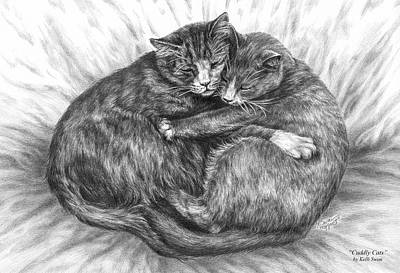Drawing - Cuddly Cats - Black And White Art Print by Kelli Swan