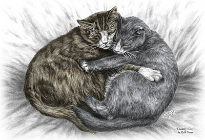 Drawing - Cuddly Cats - Color Tinted Art Print by Kelli Swan