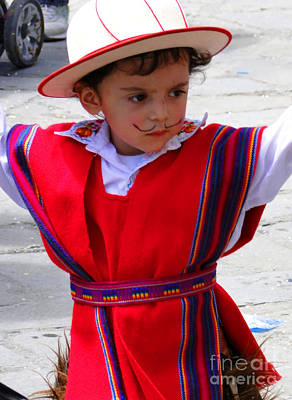 Poncho Photograph - Cuenca Kids 68 by Al Bourassa