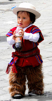 Poncho Photograph - Cuenca Kids 79 by Al Bourassa