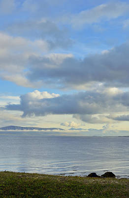 Photograph - Cumulus Clouds Sea And Mountains Reykjavik Iceland by Marianne Campolongo