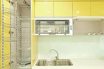 Cupboard With Stainless Steel Metal Print by Lawren Lu