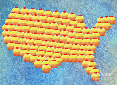 Digital Art - Cupcake Country Usa Map by Andee Design