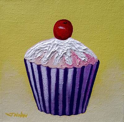 Culinary Painting - Cupcake On Yellow by John  Nolan