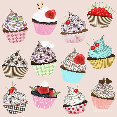 Cute Cupcakes Digital Art - Cupcake  by Setsiri Silapasuwanchai