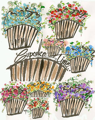Drawing - Cupcake Time Today by Darlene Flood