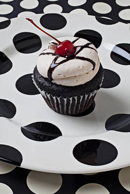 Cupcake With Cherry Art Print by Garry Gay