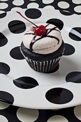Cupcake With Cherry Art Print