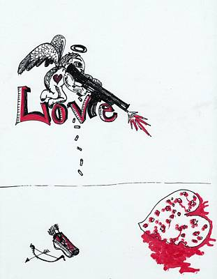 Abstract Hearts Drawing - Cupid Gone Honey Badger by Robert Wolverton Jr