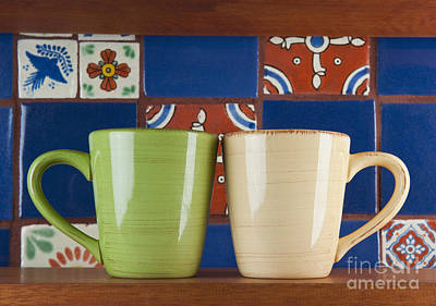 Cups In Front Of Colorful Tile Art Print by Thom Gourley/Flatbread Images, LLC