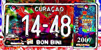 Digital Art - Curacao License Plate by Carrie OBrien Sibley