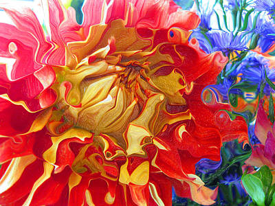 Hidden Face Digital Art - Red And Yellow Dahlia by Kathy Moll