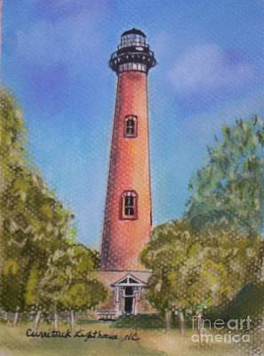Art Print featuring the pastel Currituck Lighthouse Nc by Julie Brugh Riffey