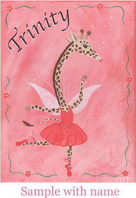 Painting - Custom Name Child's Giraffe Ballerina by Kristi L Randall