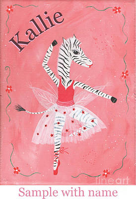 Painting - Custom Name Child's Zebra Ballerina by Kristi L Randall