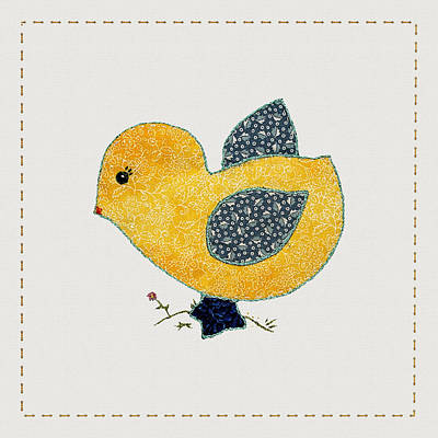 Block Quilts Digital Art - Cute Country Style Baby Chick by Tracie Kaska