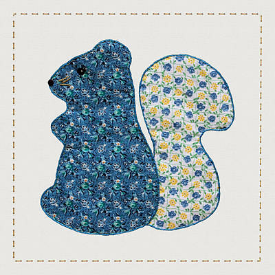 Block Quilts Digital Art - Cute Country Style Blue Squirrel by Tracie Kaska