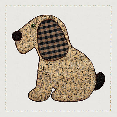 Block Quilts Digital Art - Cute Country Style Gingham Dog by Tracie Kaska