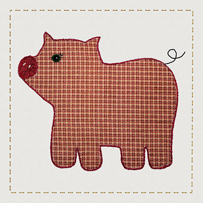 Block Quilts Mixed Media - Cute Country Style Pink Plaid Pig by Tracie Kaska