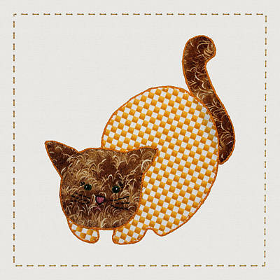 Block Quilts Digital Art - Cute Country Style Quilt Cat by Tracie Kaska
