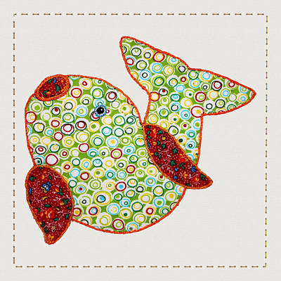 Block Quilts Digital Art - Cute Country Style Quilted Fish by Tracie Kaska