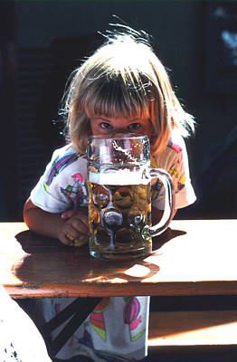 Art Print featuring the photograph Cute Little Girl At Beer Garden Munich by Tom Wurl